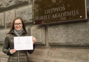 Dr. Aušrinė Jurkevičiūtė Received LMA Acknowledgment